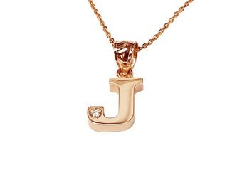 NP07cz-14K Gold One Initial Name Necklace with a Cubic Zirconia