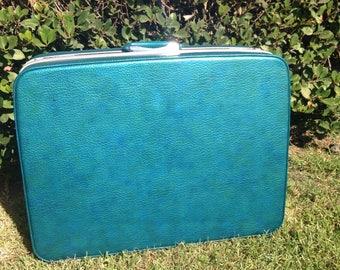 Vintage Samsonite teal green suitcase