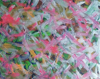 """Pink, Silver, Green, Orange Original Acrylic Abstract Painting on Canvas """"Series 7 LXIV"""" Wall Art Decor"""