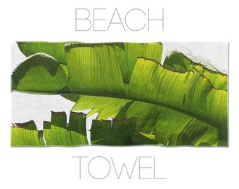 Tropical Towel, Beach Towels, Banana Leaf, Green Towel, Large Beach Towel, Photo Printed