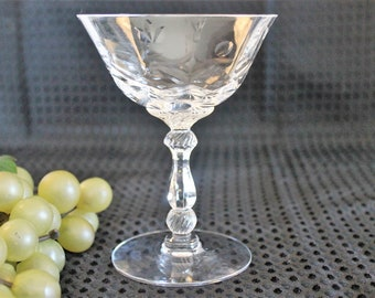 Heisey Cut Crystal Champagne Glass - Barcelona #3408 in Excellent Condition