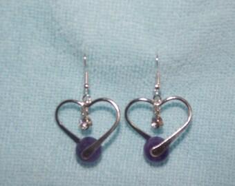 heart with purple beads earrings