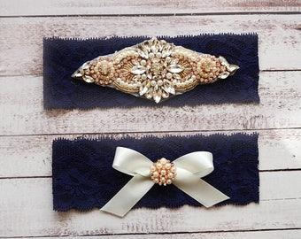 ON SALE Wedding Garter, NO Slip Lace Wedding Garter Set, bridal garter set, pearl and rhinestone garter set, vintage rhinestones Style A1085