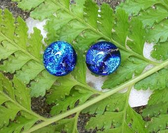 Tropical ocean blue dichroic glass stud earrings