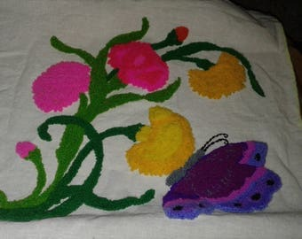 Vintage  Scrap Panal/Material/ Flowers/ Butterfly