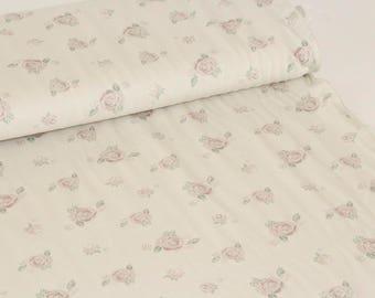 Roses Beige Organic Cotton Jersey ALLGOTS UK Seller