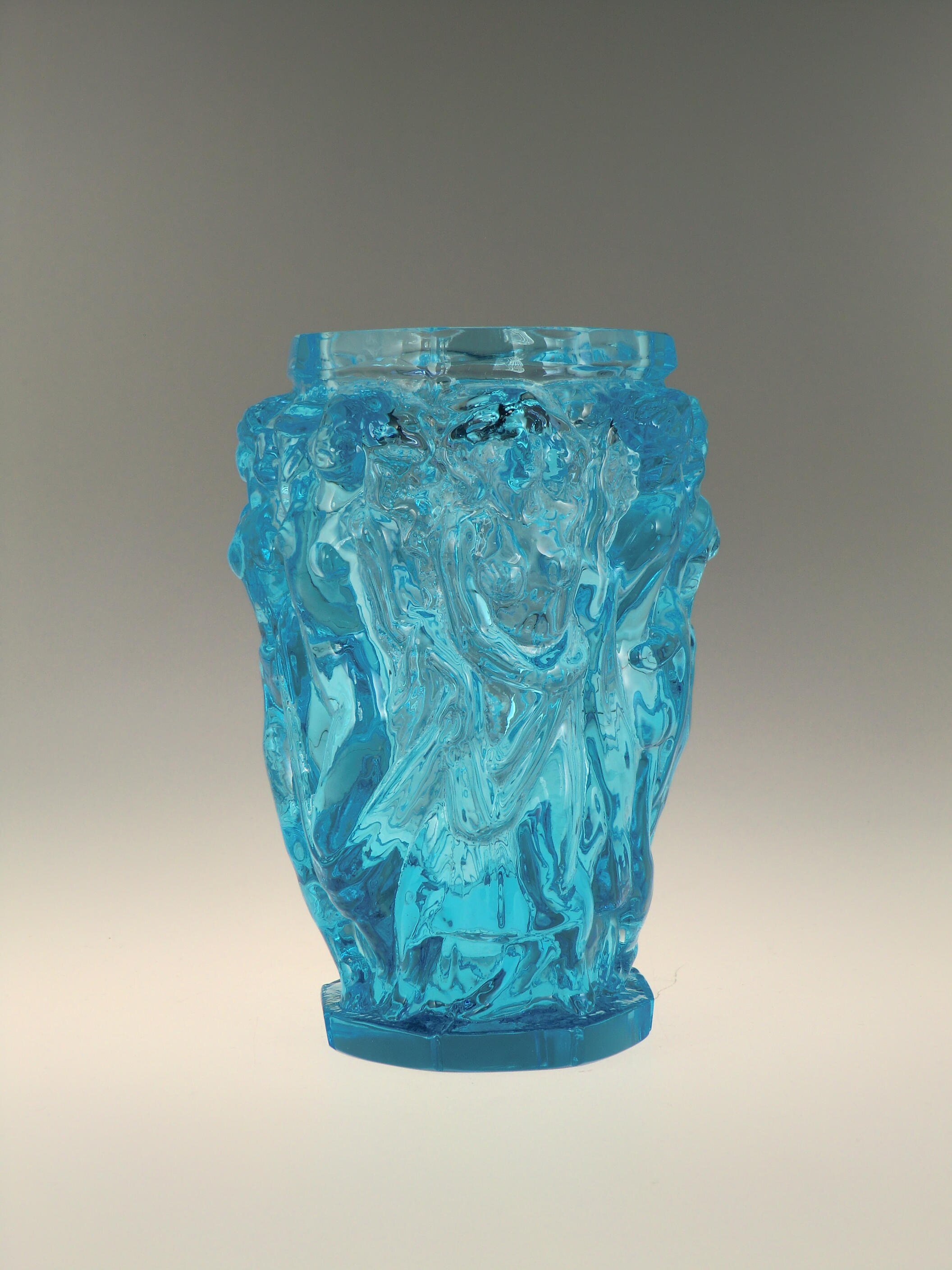 glass facet miles style antique moser james cut vase img blue