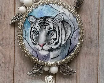Hand painted tiger, Beaded necklace, Painted pendant, Tiger pendant