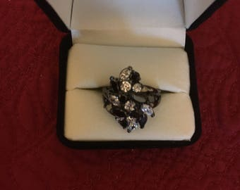 Black Cluster Rhinestone Dinner Ring