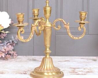 Vintage brass triple candelabra, vintage freestanding table decor