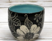 Doodle Flower Sgraffito Vase, Small flower bowl, black, white, light blue bowl