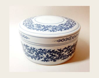 Large Candy Box in White and Blue Porcelain
