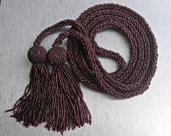 Deco Flapper Necklace, Garnet Glass Micro Bead Sautoir Tassel Rope, 180 grams