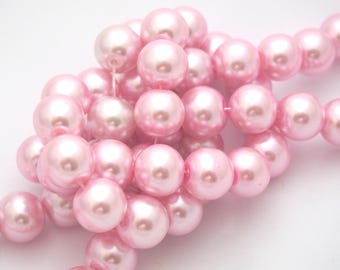Pink glass Pearl 12mm 10 beads