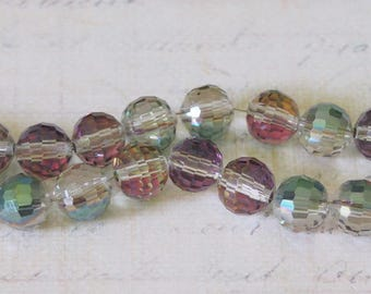10 iridescence multiple 8mm faceted round beads