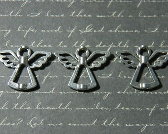 3 Silver 22x28mm recessed Angel beads