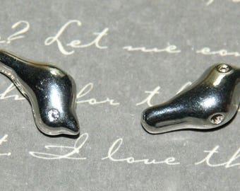 2 beads massive metal bird silver 7x16mm