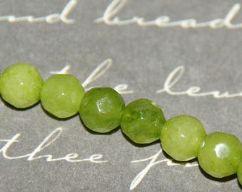 6 peridot 4mm faceted beads