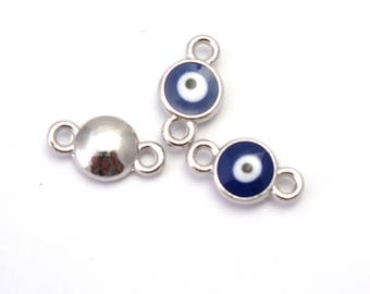 black/white/blue lucky eye and silver 14x8mm 3 connectors