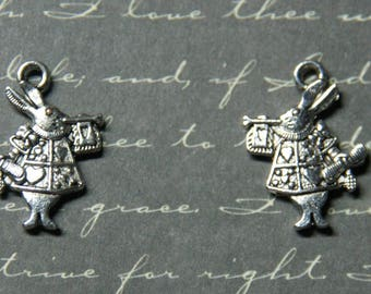 2 player 13x20mm silver rabbit charms