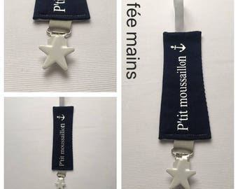 Pacifier clip in cotton fabric ' P' little sailor.