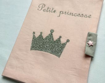 Health book in pink cotton with Crown and inscription 'little Princess' glitter