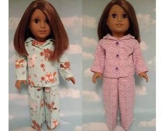 18 inch Girl Doll Clothing, handmade to fit American Girl Dolls, (Pajamas choose blue or light purple) pj-409cab