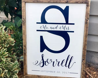 "Custom Monogram and Name Wedding Sign with Established Date - Custom Personalized Wedding Sign - 19.5"" x 15.5"""