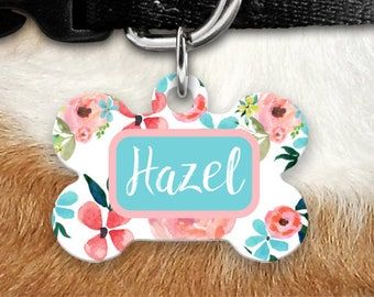 Custom Dog Tags for Dogs Dog Tag Cat Tag Pet ID Dog ID Tag Pet Tags Pet ID Tag Pink Coral Floral Pet id Tags Custom Dog Tag Cute Dog Tag
