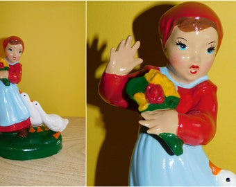 Vintage Holland Mold Dutch Girl w/Geese, Vintage Kitschy Dutch Girl Lamp Base Figurine