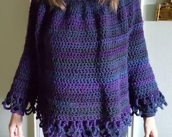 Women's crochet poncho set in multi purple. Women's hat and poncho set. Blue violet multi poncho.black purple multi women's poncho set.