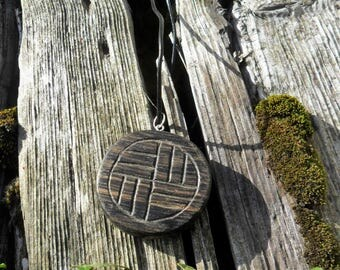 Bog Oak Carved Disc Pendant