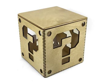 Lasercut Super Mario Bros Question Mark 4in Box with Lid