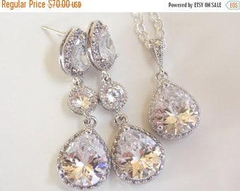 SALE Wedding Jewelry, Sterling Silver, Cubic Zirconia, Bridal Jewelry, Bridal Earrings, Bride Earrings and Necklace Set, Dangle, Long,Set Pe