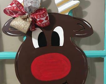 Reindeer Christmas Wooden  Door Hanger