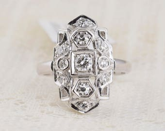 Art Deco Engagement Ring in 14k White Gold with Diamonds
