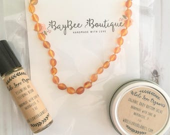 Teething Essentials Kit - Genuine Baltic Amber Teething Necklace - Essential Oil Roll On - Bottom Salve - New Baby Bundle - Baby Shower Gift