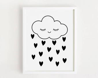 Digital Print - Love heart rain cloud Print Cute bebe art Kawaii baby poster Printable Nursery wall art Black and white Kids room decor