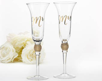Gold Glitter and Rhinestone Mr. & Mrs. Toasting Flutes Bling Glitz Glam Rhinestone Wedding Ceremony Bridal Shower Decor Reception Toasts