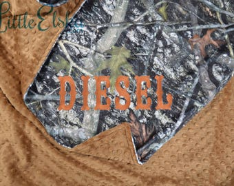 Personalized Blanket, Minky Blanket, Personalized Name Blanket, Camo Blanket, Choose Your Colors, Choose Your Size.
