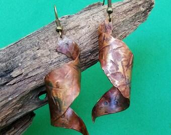 Handmade Copper Corkscrew Earrings
