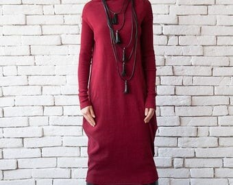 SALE Burgundy Long Dress/Loose Long Sleeve Tunic/Extravagant Wine Kaftan/Plus Size Maxi Dress/Dark Red Casual Dress/Warm Polo Dress/Long Top