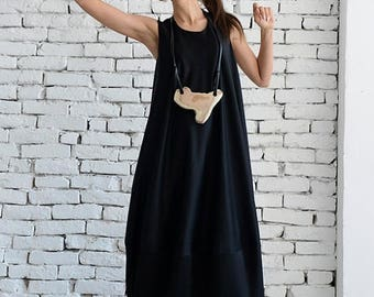 ON SALE Black Long Dress / Black Maxi Dress / Kaftan / Sleeveless Loose Dress / Black Casual Dress by METAMORPHOZA