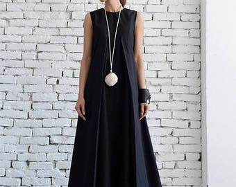 ON SALE Black Maxi Dress/Loose Long Dress/Plus Size Kaftan/Long Black Dress/Sleeveless Black Dress/Maxi Black Dress/Oversize Black Kaftan/Ma
