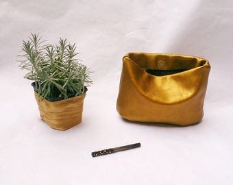 Gold leather clutch clutch leather pouch Leather storage case