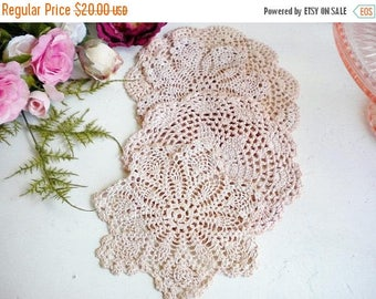 Sale Blush Pink Boho Crochet Lace Dollies Set Of 4 /Natural Dye Dollies /Blush Pink Wedding Dollies /Tea Party / Home Decor /Crafting
