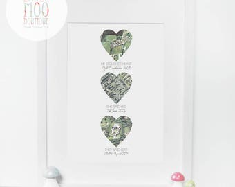 Unique Wedding Gift for Couple - Personalised Map Print - Valentines day gift - Map Hearts - Paper Wedding Anniversary - First Anniversary