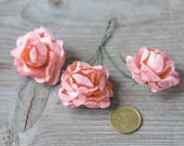 Salmon Pink Roses Mulberry Paper Decorative Flowers DIY Craft Flowers Wedding Head Crown Roses Small Pin Roses Fake Flowers Floral Supply