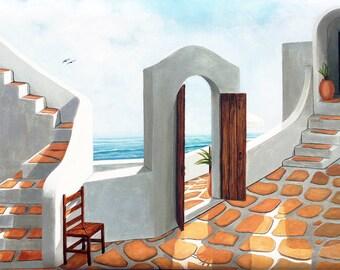 Oil Painting,Santorini Painting, Santorini Greece,handmade, beveled edge,Greek Islands,stairs,doors,patios, pots,sea,gates,views,umbrellas