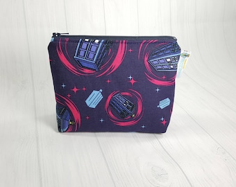 Doctor Who Tardis Swirls Policebox Zipper Notions Pouch, Mini Zippered Wedge Bag, Craft Pouch NP0034